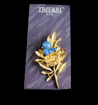 Trifari Trember Brooch - vintage blue bird pin - original card - designe... - $145.00