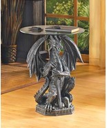 FIERCE DRAGON STATUE ACCENT TABLE Round Glass Top Medieval Stone Look Decor - $118.84