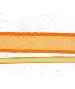 Orange Silk Organza Ruffle Edged Ribbon Narrow Orange Striped Ribbon  Ha... - $7.50