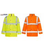 Mens Hi Vis Visibility Viz Work Safety Parka Jacket Hooded Waterproof NEW - $22.77
