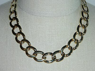 VTG Gold Tone Circle Chain Link Choker Necklace & Matching Bracelet