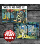 WHERE THE WILD THINGS ARE BOOK COVERS - SET OF 2 POSTERS - UNIQUE NURSER... - $32.18