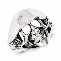 ANTIQUED  ANTIQUE FINISH STERLING SILVER SKULL RING   SIZE 9 - £36.66 GBP