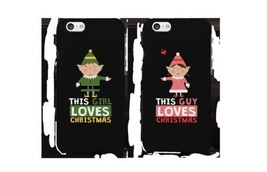 This Girl and Guy Love Christmas Black Matching Couple Phone Cases - $19.99