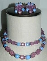 VTG HOBE Signed Silver Tone Molded Purple Plastic Beaded Necklace Earrin... - $173.25