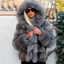 Women's thick Faux Fur Fox Fur Hooded Coat image 7