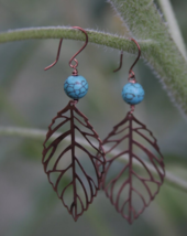 Turquoise & Copper Earrings, Gift For Her, Women's Jewelry - $36.00