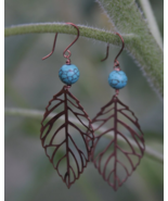 Turquoise & Copper Earrings, Gift For Her, Women's Jewelry - £27.78 GBP