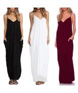 Women Sexy Sling V neck Dress Long Beachwear Spaghetti Strap Sundress Ma... - $384,22 MXN