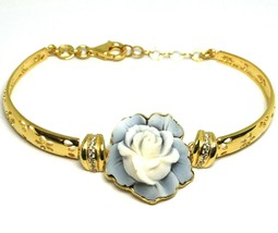925 Silver Bracelet, Cameo, Shell Cameo, Pink, Flower, Semi Hard - $269.24