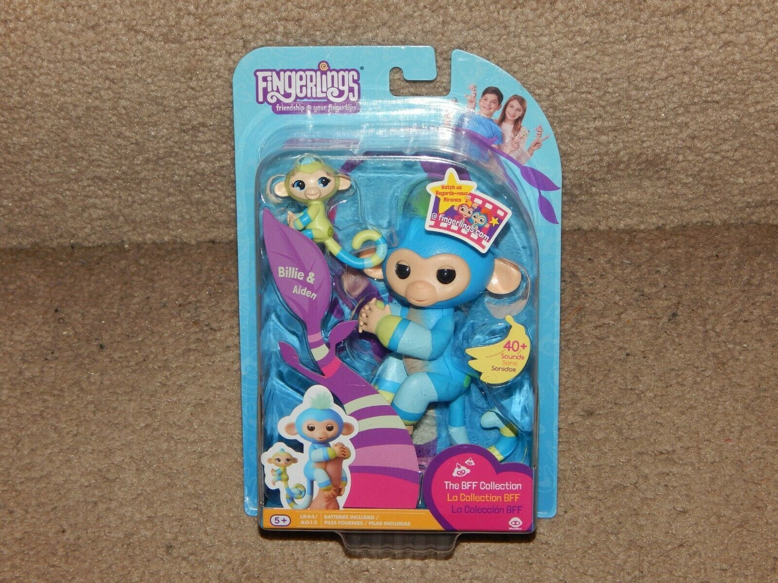 New! Fingerlings BFF Collection Billie & Aiden + LR44 Batteries Free Shipping 5+