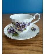 Regency Tea Cup and Saucer Pansies Fine Bone China England  - $13.81