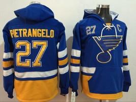 Classic St. Louis Blues 27 Alex Pietrangelo Ice Hoodies Hockey Jersey Blue - $89.98
