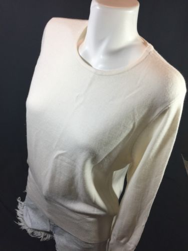 JM Collection Petite Women White Blouse Size L Scoop Neck Long Sleebe Bin55#65