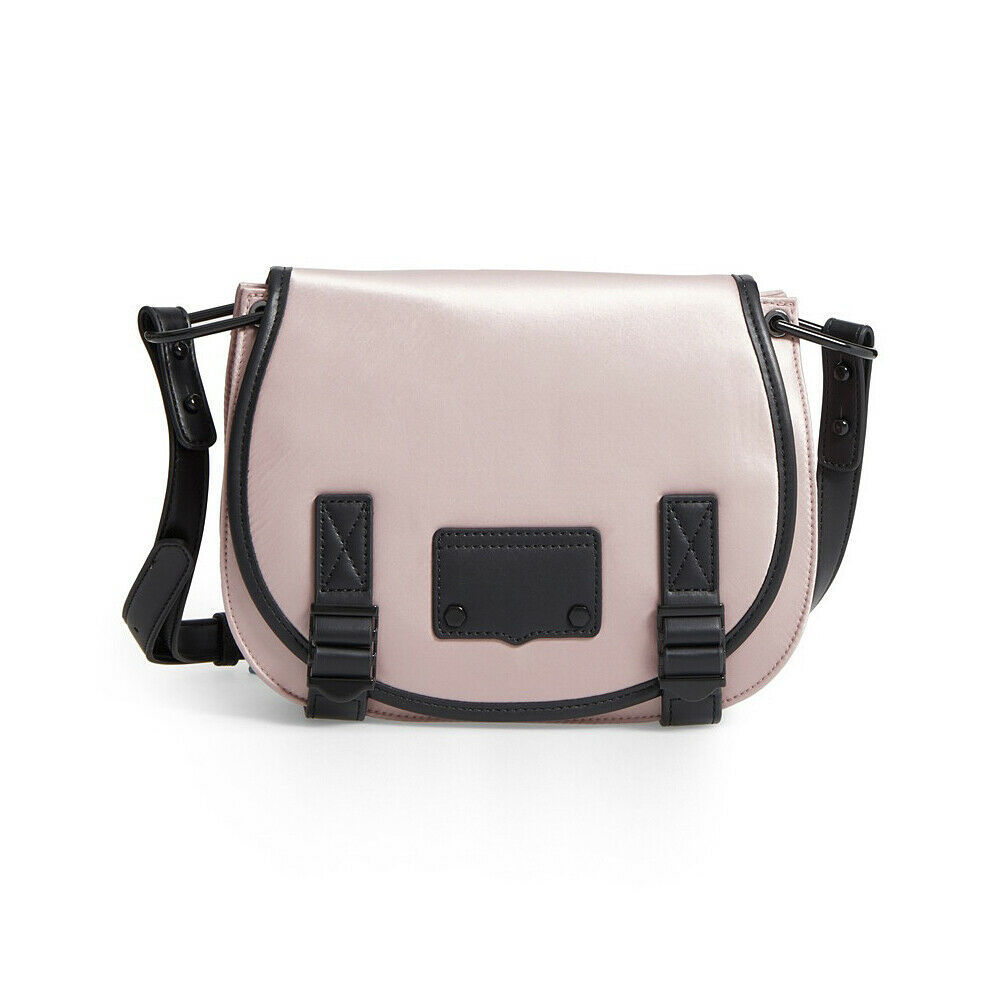 Primary image for Rebecca Minkoff Pink Nylon Black Leather Military Saddle Crossbody Bag NWT