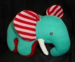 "12"" ANIMAL ADVENTURE 2012 KNIT TEAL ELEPHANT RED STRIPE EAR STUFFED PLUS... - $23.38"