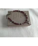 Silpada Sterling Silver Garnet Bead Heart Charm Toggle Bracelet B1488 - $53.90