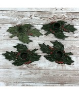 Lot of 4 Antique Candle Holders Cast Iron Christmas Holly & Berries 1920's - $44.50