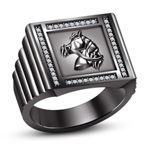 14k Black Gold Plated 925 Sterling Silver Round Cut CZ Men's SPL Horse Foal Ring - $111.80