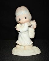 Precious Moments 1977 His Burden is Light Figurine E-1380-G, Fish Trademark - $15.00