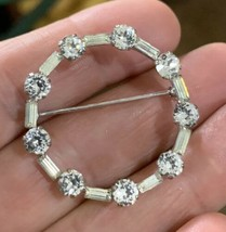 Vintage Signed Krementz Baguette & Round Double Cut Rhinestones Pin Brooch - $14.49