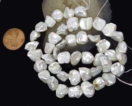 """8x10mm White Keishi Cultures Pearl Nugget Beads Natural Lustrous 16"""" - $22.00"""