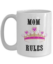 Mother's Day Mugs - Mom Rules - Best Mom Ever Coffee Cup - Worlds Best M... - £12.22 GBP