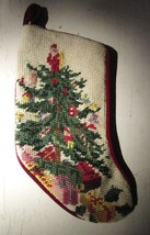 NEEDLEPOINT and PETIT POINT CHRISTMAS STOCKING HAND CRAFTED VINTAGE SMAL... - $9.49
