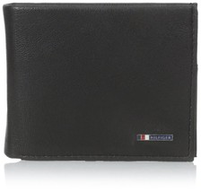 NEW TOMMY HILFIGER MEN'S BLACK LEATHER PASSCASE CREDIT CARD WALLET 31tl22x106