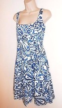 Ralph Lauren Dress Paisley Fit and Flare 6 S Pleated Blue White Sleeveless  - $26.99