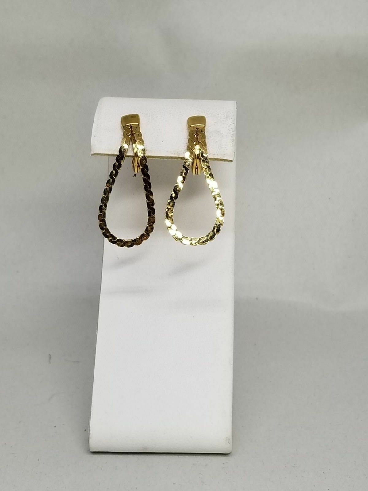 Monet Vintage Gold Tone Chain Loop Clip On Earrings