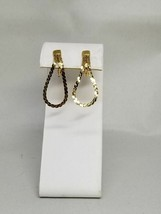 Monet Vintage Gold Tone Chain Loop Clip On Earrings - $15.29
