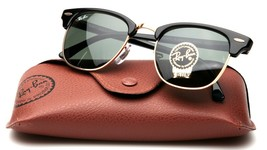 New Ray Ban Rb 3016 Clubmaster W0365 3N Black Sunglasses Frame 49-21-140mm Italy - $102.89