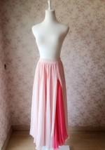 BLUSH PINK Side Split Long Chiffon Skirt Women Maxi Skirt Beach Skirts NWT image 2