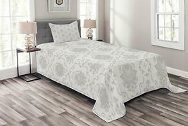 Ambesonne Grey Bedspread, Classic Victorian Floral Patterns Tulips Nosta... - $59.90