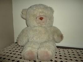 Vintage Furry Grey Plush Stuffed Teddy Bear Ontario Canada 19 inch - $86.85