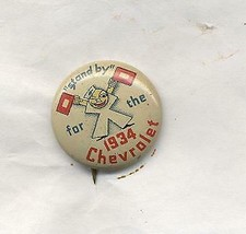 """Stand by for the 1934 Chevrolet  3/4"""" vintage pinback - $19.99"""