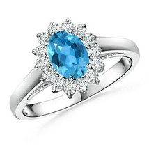 Princess Diana Inspired 1.2tcw Swiss Blue Topaz Ring with Halo Gold/Plat... - $898.76+