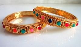 Indian Ethnic Gold Plated Multi-Color Bracelet Wedding Fashion Jewelry B... - $14.75