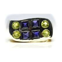 Natural Birthstone Peridot & Iolite Ring Sterling Silver Handcrafted Siz... - $59.00