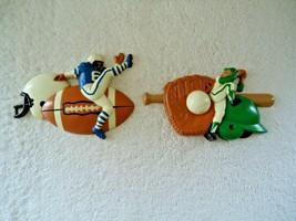 "Vtg Set Of 2 Burwood Baseball & Football Wall Plaques "" GREAT BOYS ROOM ... - $19.99"