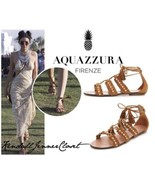 NEW AQUAZZURA Celeb Fav Cognac Suede Lace Up Studded Sandals (Size 35.5)... - $499.95