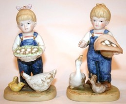 "Homco 1985 Denim Days Figurine ""Gathering Eggs"" Tag #1509 Euc Set/2 - $20.00"