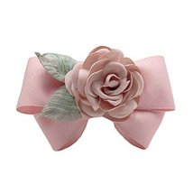 Artificial Rose Flower Cloth Hair Pin Handmade Bowknot Hair Barrettes, Pink - $12.65