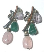 VINTAGE VENDOME SIGNED CLIP ON EARRINGS LARGE RUNWAY PINK GREEN STONES - $48.00