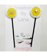 Assorted Sets of 2 Bobby Pins - Yellow White Rhinstone Flowers - $5.49