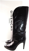 Givenchy Black Leather Tall Booties Python & Kangaroo Pointy Toe Boots 3... - $599.00