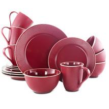 Gibson Lilith 16 Piece Stoneware Dinnerware Set- Red - $81.26