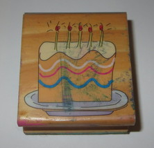Birthday Cake Rubber Stamp Wood Mounted Candles Frosting Plate  - $2.96