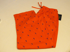 Men's Polo Sleep Pants PJ bottoms orange blue 5RD logo lounge L large R082RL - $37.56